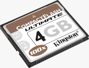 Kingston's 4GB CompactFlash Ultimate card. Courtesy of Kingston, with modifications by Michael R. Tomkins.
