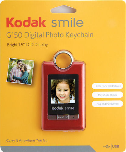 Product packaging for the Kodak Smile G150 Digital Photo Keychain. Photo provided by Sakar International Inc. Click for a bigger picture!