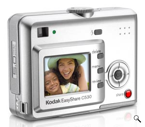 Kodak's EasyShare C530 digital camera. Courtesy of Kodak, with modifications by Michael R. Tomkins. Click for a bigger picture!