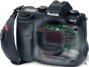 Kodak's DCS Pro SLR/c digital camera. Courtesy of Eastman Kodak Co., with modifications by Michael R. Tomkins. Click for a bigger picture!