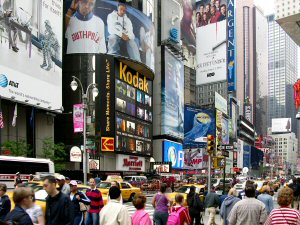 Kodak's Kodarama screen in Times Square. Courtesy of Kodak, with modifications by Michael R. Tomkins. Click for a bigger picture!