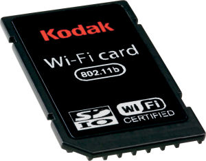 Kodak's SDIO Wi-Fi card. Courtesy of Eastman Kodak Co., with modifications by Michael R. Tomkins. Click for a bigger picture!