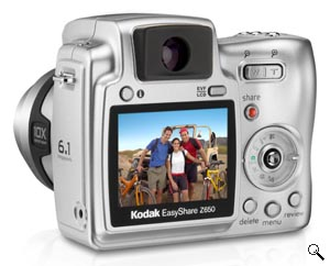 Kodak's EasyShare Z650 digital camera. Courtesy of Kodak, with modifications by Michael R. Tomkins. Click for a bigger picture!