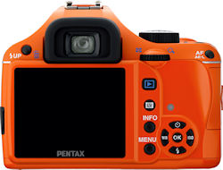 Pentax's K-x digital SLR, rear view in orange body color. Photo provided by Pentax Imaging Co. Click for a bigger picture!