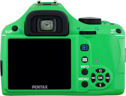 Pentax's K-x digital SLR, rear view in green body color. Photo provided by Pentax Imaging Co. Click for a bigger picture!
