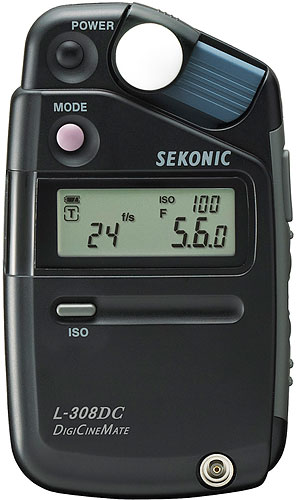 The Sekonic L-308DC DigiCineMate light meter. Photo provided by Sekonic Corp. Click for a bigger picture!