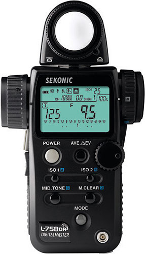 Sekonic's L-758DR DigitalMaster light meter. Photo provided by Sekonic Corp. Click for a bigger picture!