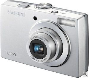 Samsung's L100 digital camera. Courtesy of Samsung, with modifications by Michael R. Tomkins. Click for a bigger picture!