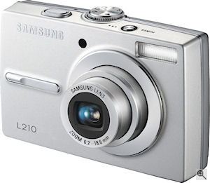 Samsung's L210 digital camera. Courtesy of Samsung, with modifications by Michael R. Tomkins. Click for a bigger picture!