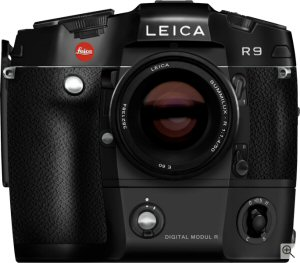 Leica's DIGITAL-MODUL-R on the R9 35mm film camera. Courtesy of Leica, with modifications by Michael R. Tomkins. Click for a bigger picture!
