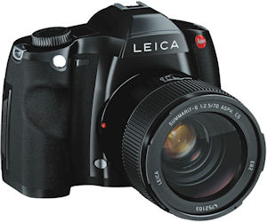 Leica's S2 digital SLR. Courtesy of Leica, with modifications by Michael R. Tomkins. Click for a bigger picture!