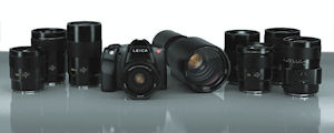 Leica S2 digital SLR with a selection of S-System lenses. Courtesy of Leica, with modifications by Michael R. Tomkins. Click for a bigger picture!