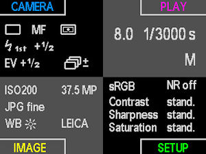 A menu screen from Leica's S2 digital SLR. Courtesy of Leica, with modifications by Michael R. Tomkins.