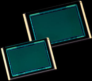 Leica's 'Pro Format' image sensor (right), shown with an unidentified 35mm full-frame imager for size comparison. Courtesy of Leica, with modifications by Michael R. Tomkins. Click for a bigger picture!