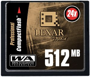 Lexar's 512MB Write-Accelerated CompactFlash card. Courtesy of Lexar, with modifications by Michael R. Tomkins.
