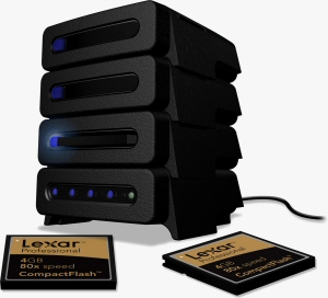 Lexar's stackable Pro Card Reader. Courtesy of Lexar, with modifications by Michael R. Tomkins. Click for a bigger picture!