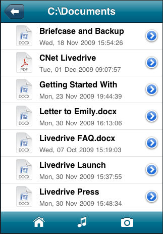 Browsing the documents folder of a backup using Livedrive's iPhone app. Screenshot provided by Livedrive. Click for a bigger picture!