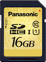 Panasonic's 16GB RP-SDY16G SDHC UHS-I memory card. Photo provided by Panasonic Corp.