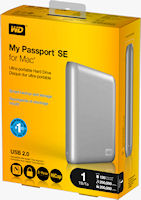 Product packaging for the 1TB My Passport SE for Mac external hard drive. Photo provided by Western Digital Technologies.