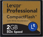 Lexar's 2GB 80X Lt CompactFlash card. Courtesy of Lexar, with modifications by Michael R. Tomkins.