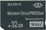 Sony's 32GB Memory Stick PRO Duo Mark II card. Photo provided by Sony Media & Peripherals Europe.