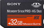 Sony's 32GB Memory Stick PRO HG Duo card. Photo provided by Sony Europe.
