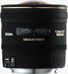 Sigma's 4.5mm F2.8 EX DC Circular Fisheye lens. Courtesy of Sigma, with modifications by Michael R. Tomkins.