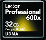 Lexar's 32GB Professional 600x UDMA CompactFlash card. Photo provided by Micron Technology Inc.