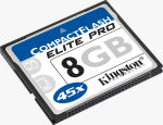Kingston's 8GB CompactFlash Elite Pro card. Courtesy of Kingston, with modifications by Michael R. Tomkins.
