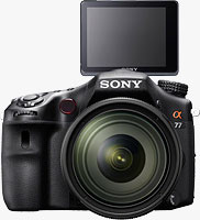 Sony's Alpha SLT-A77 translucent mirror camera. Photo provided by Sony Electronics Inc.