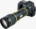 AstroScope 9350EOS-FF Night Vision Module fits between the Canon camera body and lens retaining all electronic lens functions. Photo and caption provided by Sofradir EC Inc.