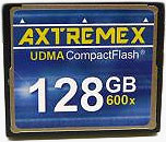 Axtremex Technology's 128GB 600X CompactFlash Type-I card. Photo provided by Axtremex Technology.