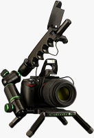 The Camtrol Prime system, shown with Nikon D5000 digital SLR and unidentified lens mounted. Photo provided by Camtrol LLC.