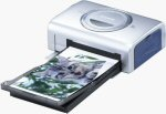 Canon's CP-200 card photo printer. Courtesy of Canon, with modifications by Michael R. Tomkins.