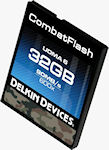 A 32GB CombatFlash ruggedized CompactFlash card.