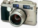 Contax's G2 35mm film rangefinder camera. Courtesy of Contax, with modifications by Michael R. Tomkins.