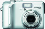 Nikon's Coolpix P2 digital camera. Courtesy of Nikon, with modifications by Michael R. Tomkins.