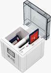 CUBE CF card reader with cover opened to show card slots and storage bay. Photo provided by JOBO AG.