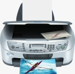 Epson's Stylus CX6600 All-in-One. Courtesy of Epson, with modifications by Michael R. Tomkins.