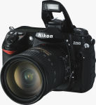Nikon's D200 digital SLR. Courtesy of Nikon, with modifications by Michael R. Tomkins.