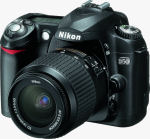 Nikon's D50 digital SLR. Courtesy of Nikon, with modifications by Michael R. Tomkins.