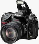 Nikon's D700 digital SLR. Courtesy of Nikon, with modifications by Michael R. Tomkins.