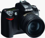 Nikon's D70s digital SLR. Courtesy of Nikon, with modifications by Michael R. Tomkins.