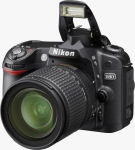 Nikon's D80 digital SLR. Courtesy of Nikon, with modifications by Michael R. Tomkins.