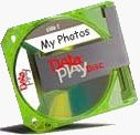 A DataPlay disk. Courtesy of DataPlay Inc., with modifications by Michael R. Tomkins.