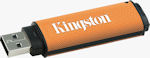 Kingston's 32GB DataTraveler 150 flash drive. Courtesy of Kingston, with modifications by Michael R. Tomkins.