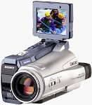 Sony's Handycam DCR-IP220 camcorder. Courtesy of Sony Electronics, with modifications by Michael R. Tomkins.