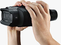 Sony's DEV-3 / DEV-5 binoculars, shown in-hand. Photo provided by Sony Electronics Inc.