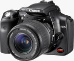 Canon's EOS Digital Rebel, black version. Courtesy of Canon, with modifications by Michael R. Tomkins.