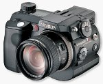 Minolta's DiMAGE 7Hi digital camera. Courtesy of Minolta, with modifications by Michael R. Tomkins.